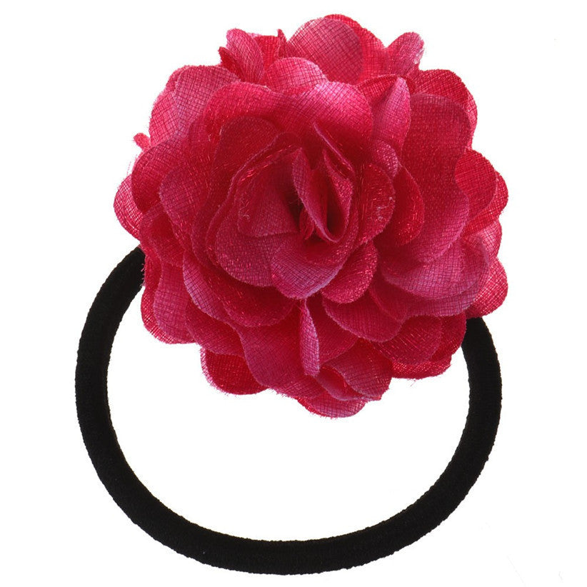 Deals Blast: Newly Design Big Rose Flower Hair Rope Elastic Hair Bands Accessories Nice Gift Deals Blast