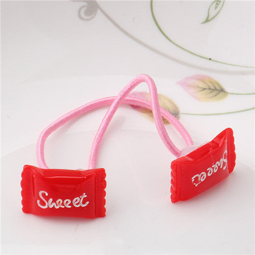 Deals Blast: Sweet Hair Ornaments Candy Color Gum for Hair Candy Letterl Rubber Ropes for Babys Hair Accessories Girls Elastic Hair Bands Deals Blast