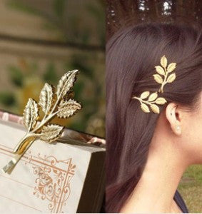 Deals Blast: Hot New Fashion Wedding Hair Accessories Gold Textured Olive Leaf Beautiful Bride Jewelry Hair Clip Hair Pin Hair wear: Deals Blast