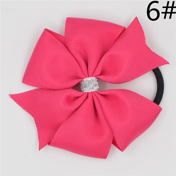 Deals Blast: 3.6'' Baby Girl Solid Ribbon Hairbow Handmade Pinwheel Bows With Elastic Band Windmill Hair Accessories 15COLORS Deals Blast