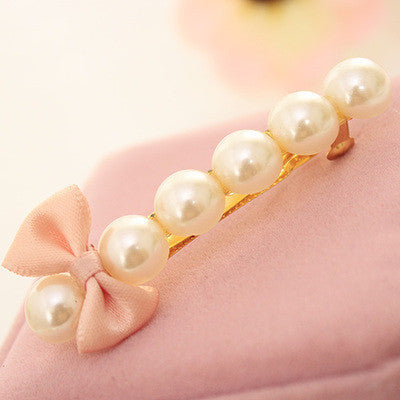 Deals Blast: Six Simulated Pearl Beautiful Cute Tiny Bow Barrettes Gold Plated Hair Clips for Women Headwear Hair Accessories Deals Blast