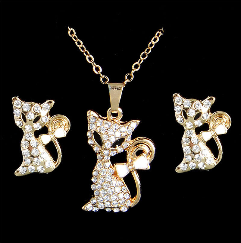 Deals Blast: Jewelry Sets 18K Gold Plated Cute Fox Austrian Crystal Necklace Earring Chain Womens Jewelry Deals Blast