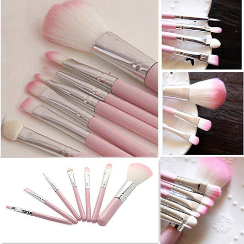 Deals Blast: Make up 7Pcs Pro Pink Makeup Brush Set Eyeshadow Cosmetic Tools Eye Face Beauty Brushes: Deals Blast