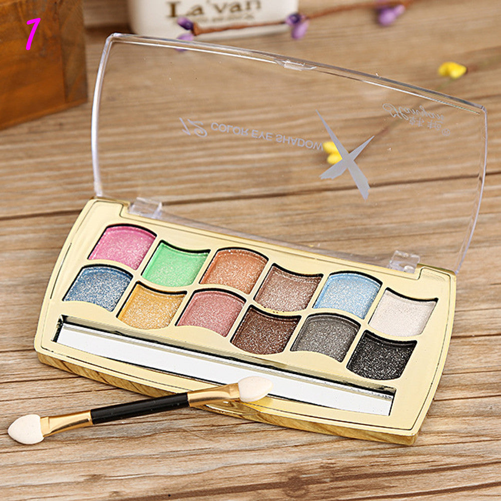 Deals Blast: 6 style 12 colors colorful shimmer eye shadow palette super make up set flash Glitter eyeshadow palette with brush - Deals Blast
