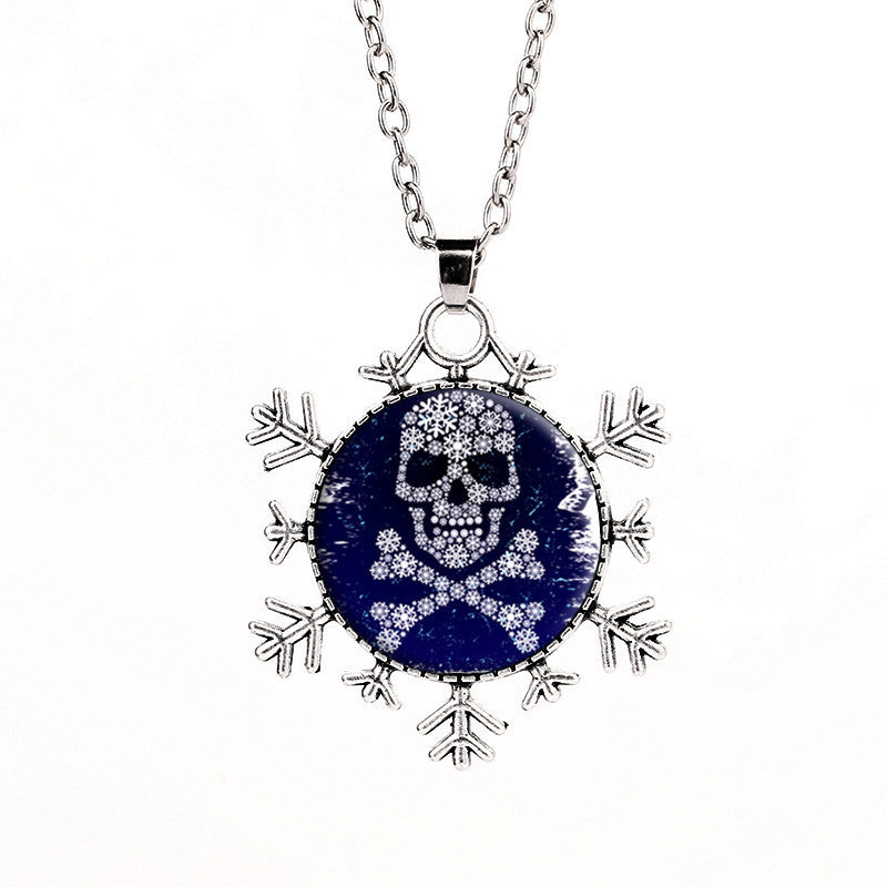 Deals Blast: Fashion 2016 European vintage steampunk style retro flower skull tattoo glass dome photo art Snowflakes necklace chain jewelery - Deals Blast