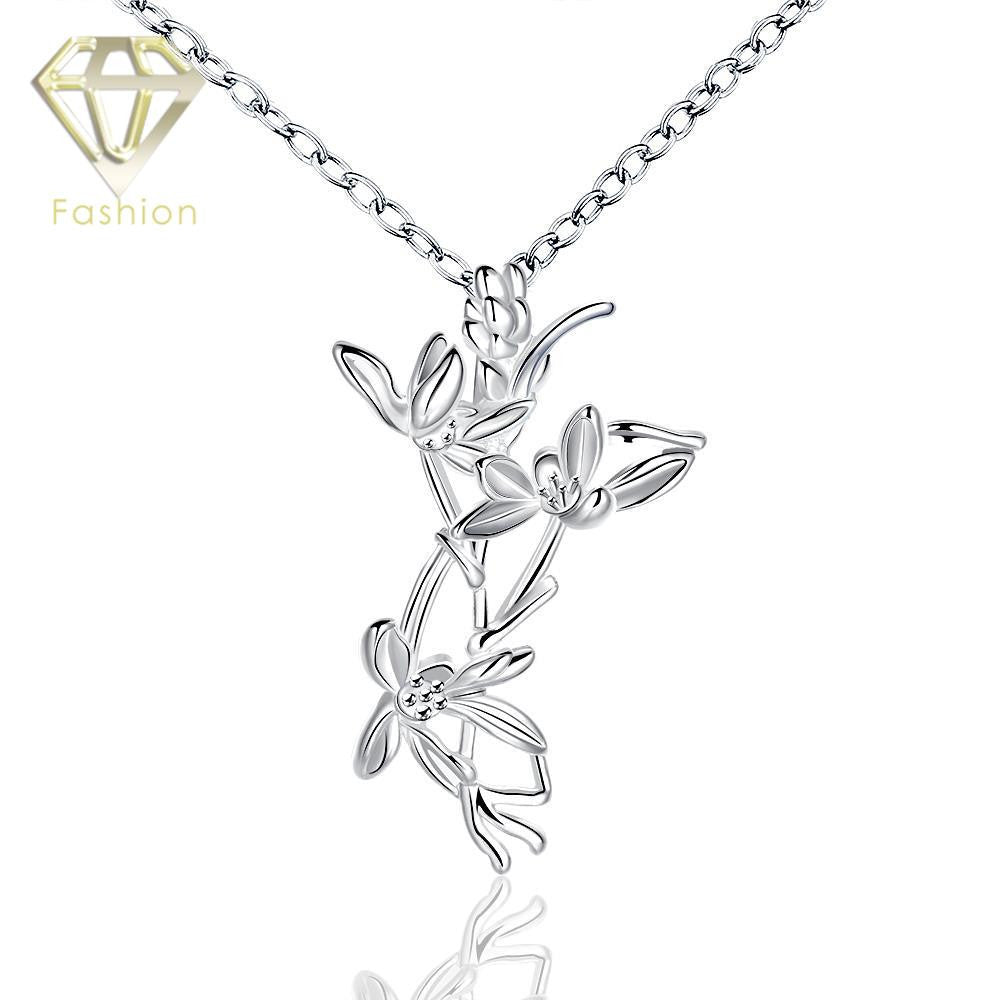 Deals Blast: Wedding Jewellery Attractive Decoration Unique Shape with Flowers Pendant Statement Necklace Silver Plated Jewelery for Women Deals Blast