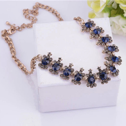 Deals Blast: Free Shipping Blue Crystal Necklace Jewelery wholesale Fashion Exaggerated party Necklace jewelry Gift Deals Blast