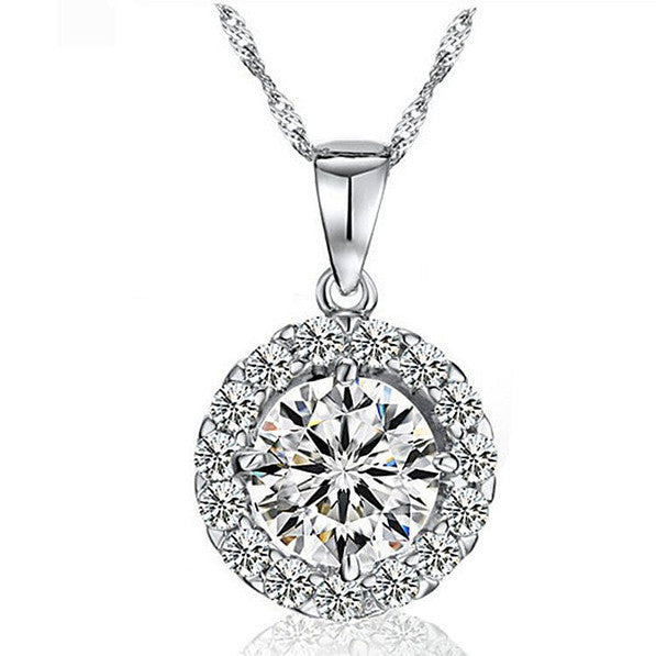 Deals Blast: New Fashion European & American Style Necklaces Women Jewelery Luxury Silver Round CZ Diamond Pendant Necklace with Crystal Deals Blast