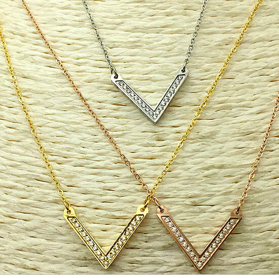 Deals Blast: Real Gold plated V full crystal necklaces for women accessories collier, fashion kolye choker necklace stainless steel jewelery: Deals Blast