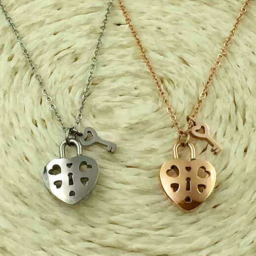 Deals Blast: Gold plated cute hollow heart pendant necklace women accessories, fashion love key necklaces stainless steel collier jewelery - Deals Blast