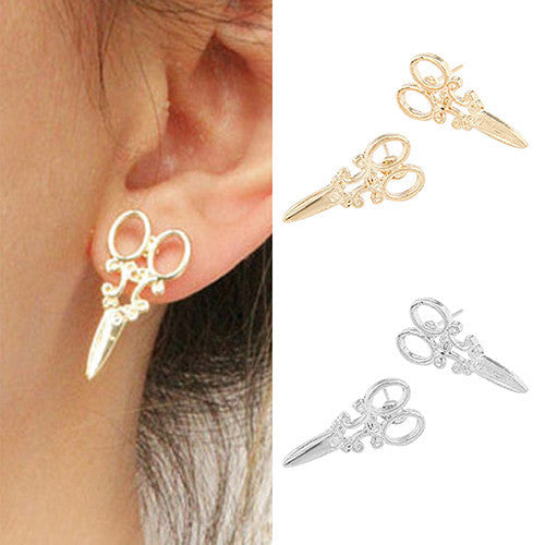 Deals Blast: Women Mini Scissors Ear Studs Charm Punk Earrings Jewelry Gift Gold Silver Tone: Deals Blast