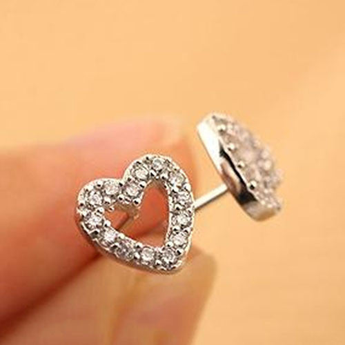 Deals Blast: Fashion Women Lady Love Heart Silver Plated Rhinestone Ear Stud Earrings Deals Blast