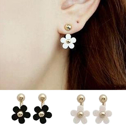 Deals Blast: Women's Daisy Golden Ball Petal Flower Rear Wear Double Side Ear Stud Earring Deals Blast