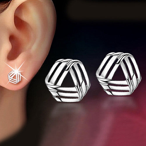 Deals Blast: Women Triangle Streamlined Silver Plated Ear Studs Wedding Earrings Jewelery Deals Blast