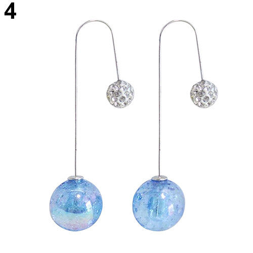 Deals Blast: Women's 2 Sides Ball Translucent Crack Faux Pearl Long Dangle U Hook Earrings Jewelery Deals Blast