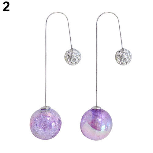 Deals Blast: Women's 2 Sides Ball Translucent Crack Faux Pearl Long Dangle U Hook Earrings Jewelery: Deals Blast