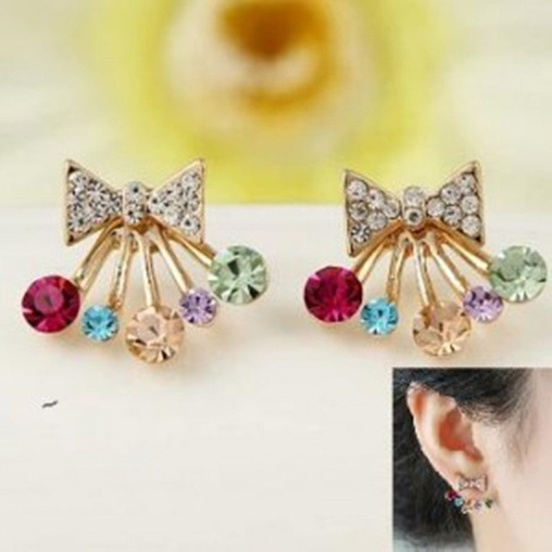 Deals Blast: Fashion earrings imitation diamond bow color earrings jewelry for women Deals Blast