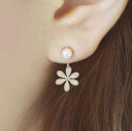 Deals Blast: New Summer Style Top Quality Ladies simulated pearl Rhinestone Five Leaves And Flowers Stud Earrings For Women Deals Blast