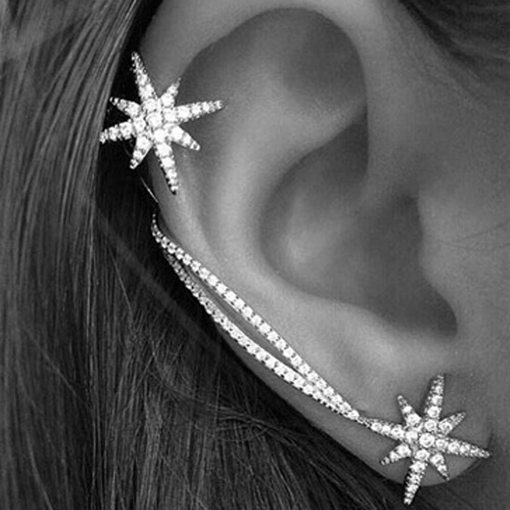 Deals Blast: New Style Silver Tone Crystal Seastar Snowflake Shaped Chain Stud Earring Jewelry Gift For Girls Deals Blast