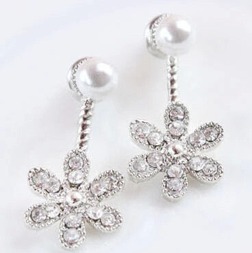Deals Blast: Blue Kiss 2016 New Summer Style Simulated Pearl Rhinestone Five Leaves And Flowers Stud Earrings Jewelery For Women Deals Blast