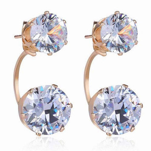 Deals Blast: Women Fashion Drop Ear Studs Jewelry Double Rhinestone Ear Jacket Earrings Gift: Deals Blast