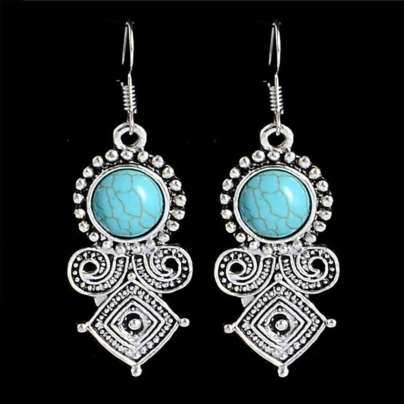 Deals Blast: Trendy Bohemia Jewelry Ethnic Vintage Tibetan Silver Turquoise Brilliant Royal Dangle Earrings Women Deals Blast