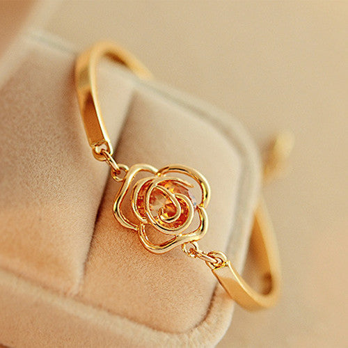 Deals Blast: Women Golden Flower Crystal Rose Bangle Cuff Chain Bracelet Chic Jewelry Present Deals Blast