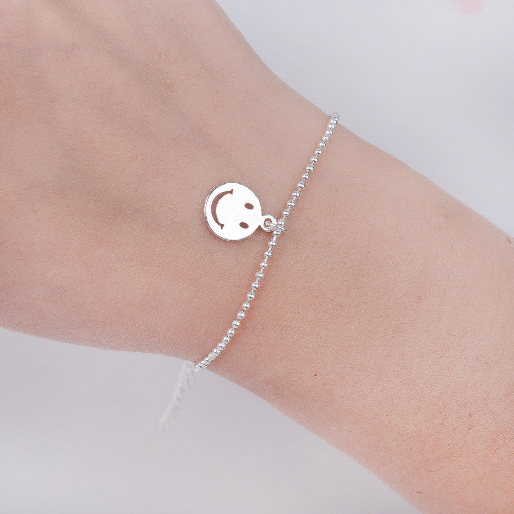 "Deals Blast: 4SEASONS Copper Bracelets Silver Plated Emoji Smile Fashion Woman Jewelry 16.5cm(6 4/8"") long, 1 Piece Deals Blast"