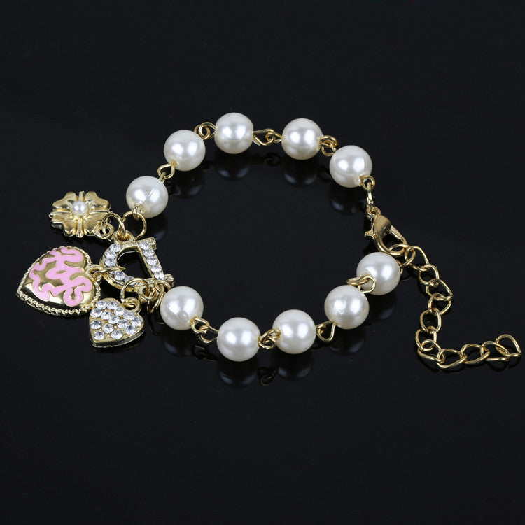 Deals Blast: Hot Selling Jewelry Heart Flower Simulated Pearl Rhinestones Inlaid Woman Bracelet Dropshipping Deals Blast