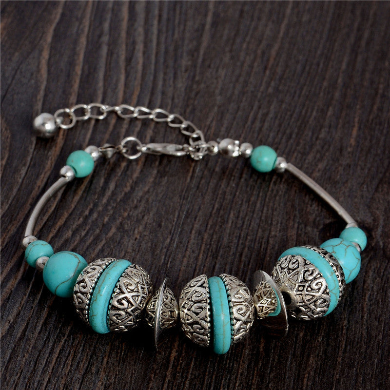 Deals Blast: Hot Style Unique Vintage Adjustable Chain Round Bead Charm Fascinating Turquoise Bracelet Deals Blast
