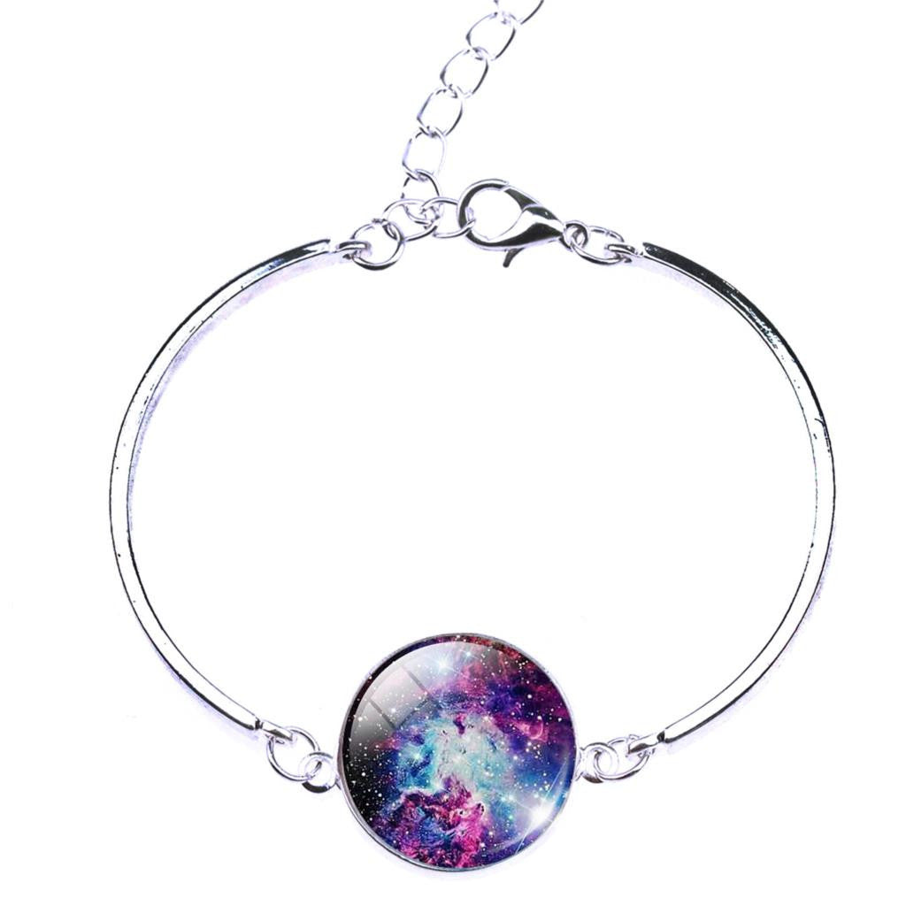Deals Blast: 2017 Unique Fine Jewelry Glass Galaxy Cabochon Charm Bracelets&Bangles For Women silver plated jewelry Women Bracelet Deals Blast