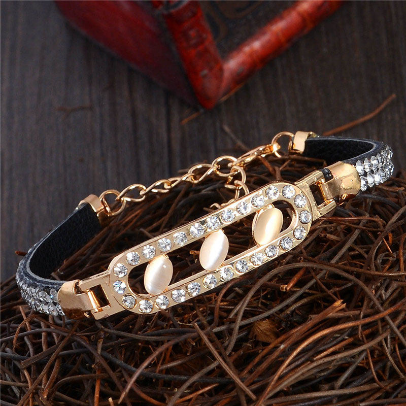 Deals Blast: 2017 Brand New Fashion Elegant Women Bracelet Cat Eye Stone Gold Plated Austrian Crystal Bracelet Jewelry - Deals Blast