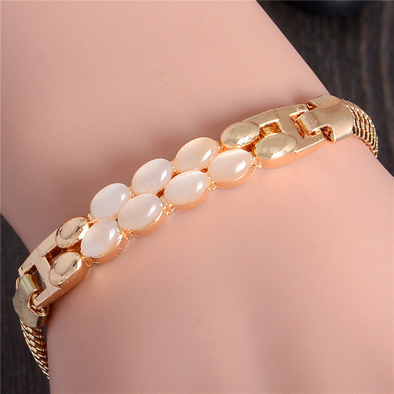Deals Blast: Korean Opal Bracelet Real Gold Plated Charm Bracelet Bangle for Women Fashion Jewelry Deals Blast