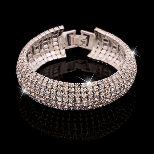 Deals Blast: Brilliant quality Women's Romantic Golden Silver Rhinestone Wedding Party Shinny Bangle Bracelet Deals Blast