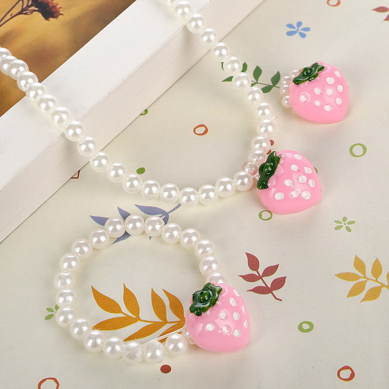 Deals Blast: Pink Girls Strawberry Simulated Pearl Necklace Adjustable Finger Ring Cute Children Beads Jewelry Sets for Kids: Deals Blast