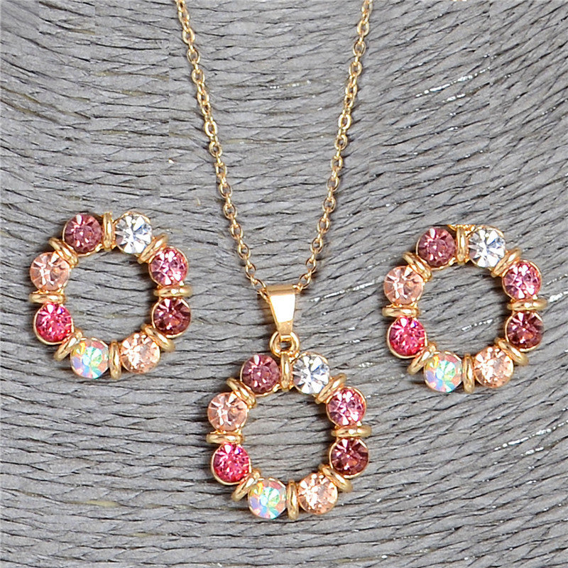 Deals Blast: Luxury Colors Crystal Round Charms Jewelry Sets For Women 18k Gold Plated Chain Austrian Crystal Necklace Stud Earrings: Deals Blast