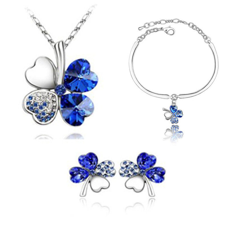 Deals Blast: Top Quality Elegant luxury New fashion 18K Silver plated Four Leaf Leaves Clover Austrian crystal Jewelry sets women gift: Deals Blast