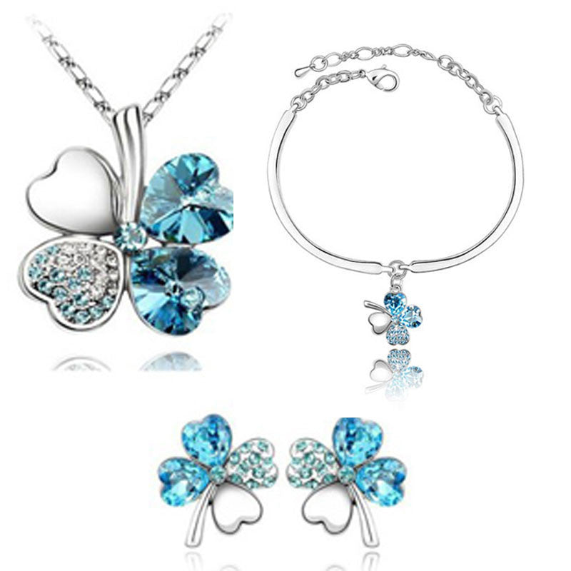 Deals Blast: Top Quality Elegant luxury New fashion 18K Silver plated Four Leaf Leaves Clover Austrian crystal Jewelry sets women gift Deals Blast