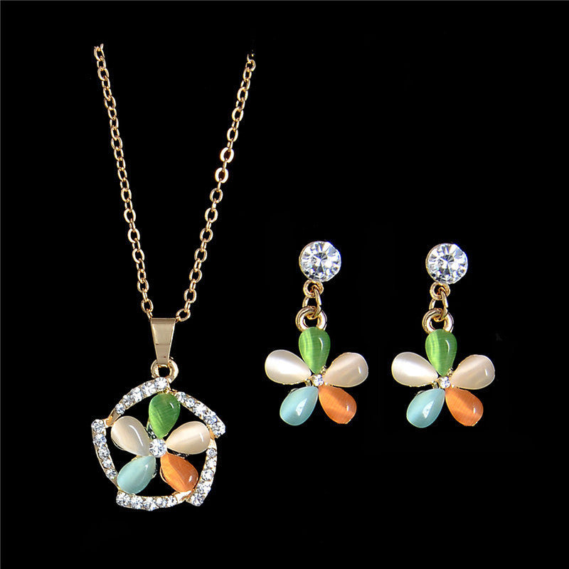 Deals Blast: 1 Set 18k Gold Filled Women Jewelry Sets Austrian Crystal Colorful Opal Necklace Earring Set Fashion Jewelry Deals Blast