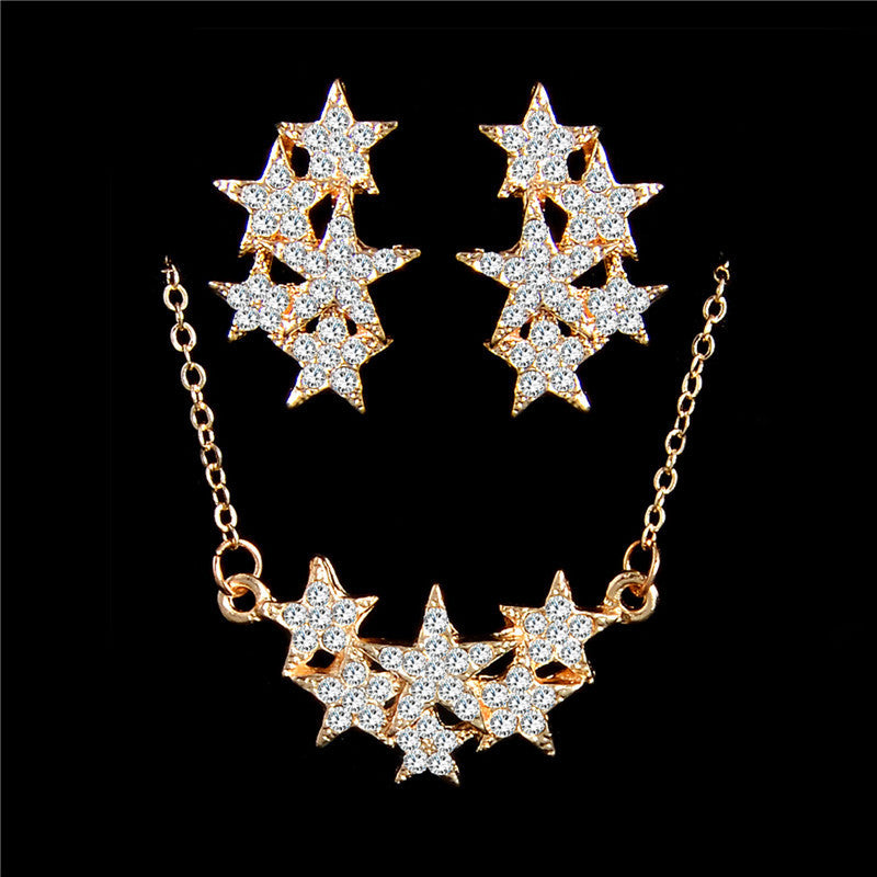 Deals Blast: 18K Gold Plated Shiny Cute Stars Austrian Crystal Necklace Earring Chain Wedding Jewelry Sets Deals Blast