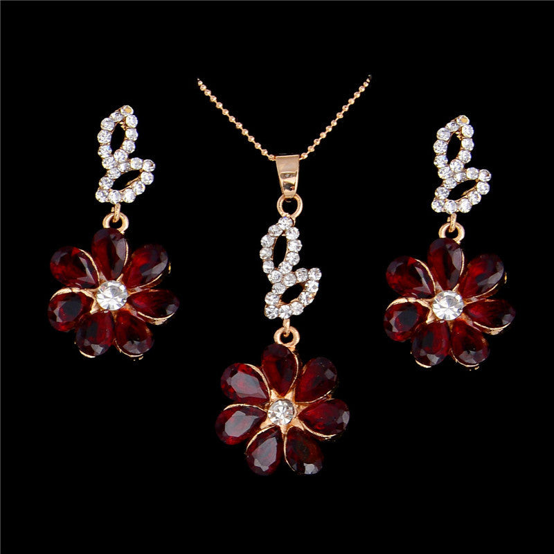 Deals Blast: Stylish 1 Set Red Sparkling Flower Crystal Rhinestone Earrings Pendant Necklace Party Jewelry Set For Women Deals Blast