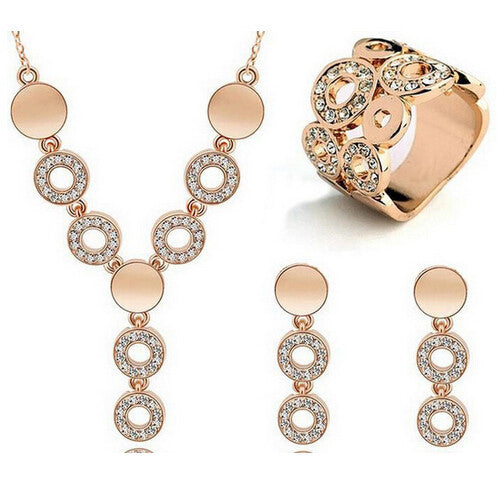 Deals Blast: New Free Shipping 3Pcs Jewelry Sets 18K Gold Plated Necklace Earrings Ring For Women Ladies Wedding Party Gifts Circle Design Deals Blast