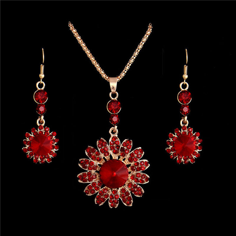Deals Blast: Free Shipping 18K Gold Plated Women's Austria Crystal Alluring Red Sunflower Necklace Earrings Wedding Bridal Jewelry Sets Deals Blast
