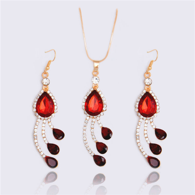 Deals Blast: Fashion Water Drop Necklace & Pendant 18k Gold Filled Red Crystal Necklace Earrings Set Fashion Women Jewelry Sets - Deals Blast
