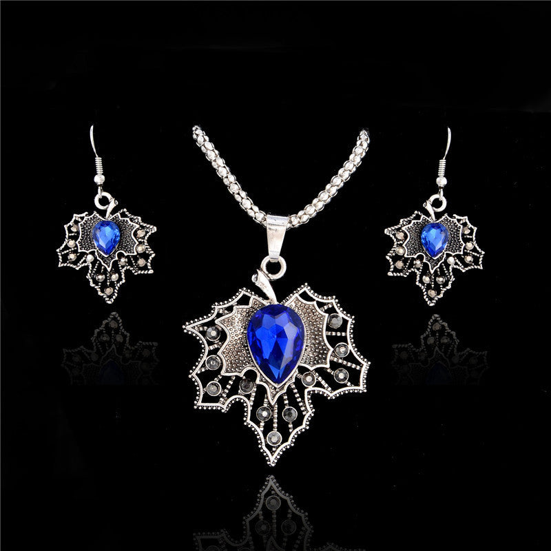 Deals Blast: Fashion Austria Crystal Maple Leaf shape Silver Plated Earrings Necklace Bridal Jewelry Sets Wedding Dress Wedding Accessories Deals Blast