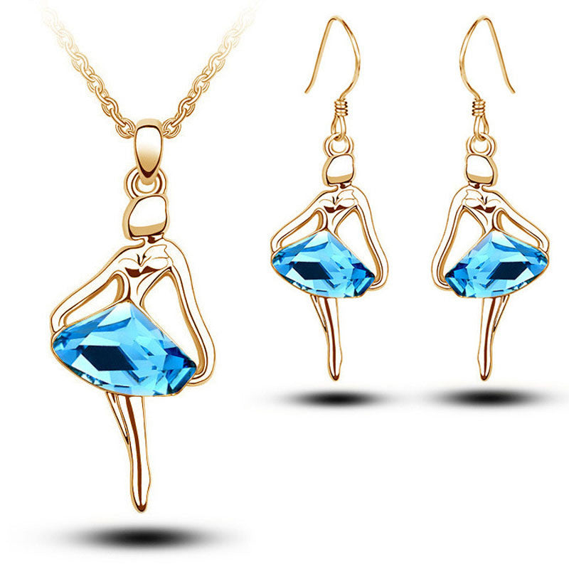 Deals Blast: Wholesale Fashion Blue Crystal Figure Jewellery Sets For Women New Silver Plated Ballet Girl Angel Earrings And Necklace Set Deals Blast