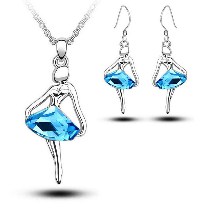 Deals Blast: Wholesale Fashion Blue Crystal Figure Jewellery Sets For Women New Silver Plated Ballet Girl Angel Earrings And Necklace Set - Deals Blast