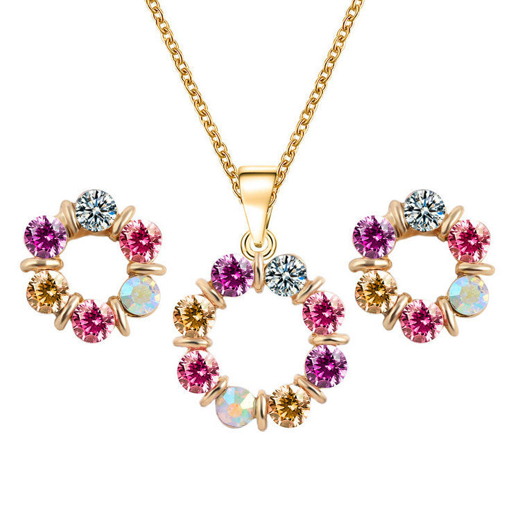 Deals Blast: New Design Heart Women Jewelry Set Flower 18K Gold Plated Austrian Crystal Jewelry Sets Necklace Earrings Valentine's day Gifts: Deals Blast