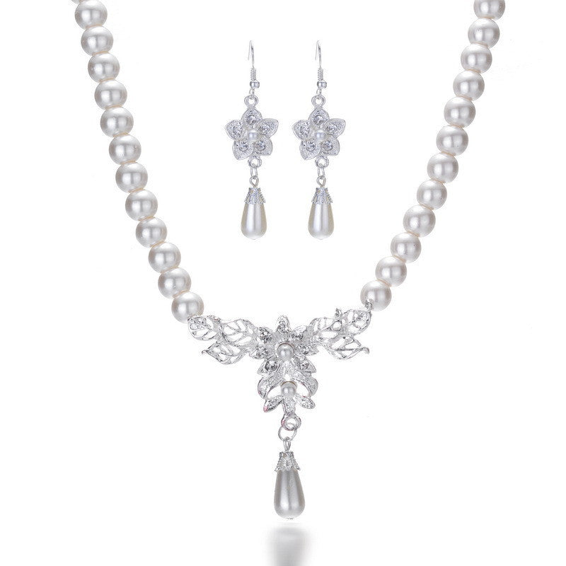 Deals Blast: Water drop Pearl Earrings necklace jewelry sets Classic wedding jewelry set for bridal Bridesmaid Simulated pearl jewelry sets Deals Blast