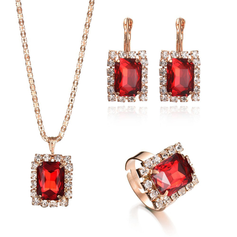 Deals Blast: 3PCS/Set Women Jewelry Sets Gold Plated Wedding Bridal Jewellery Set Geometric Crystal Necklace Ring Earrings For Girls Gift Deals Blast